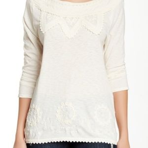 Lucky Brand Embellished Shirt Embroidered Boho Top